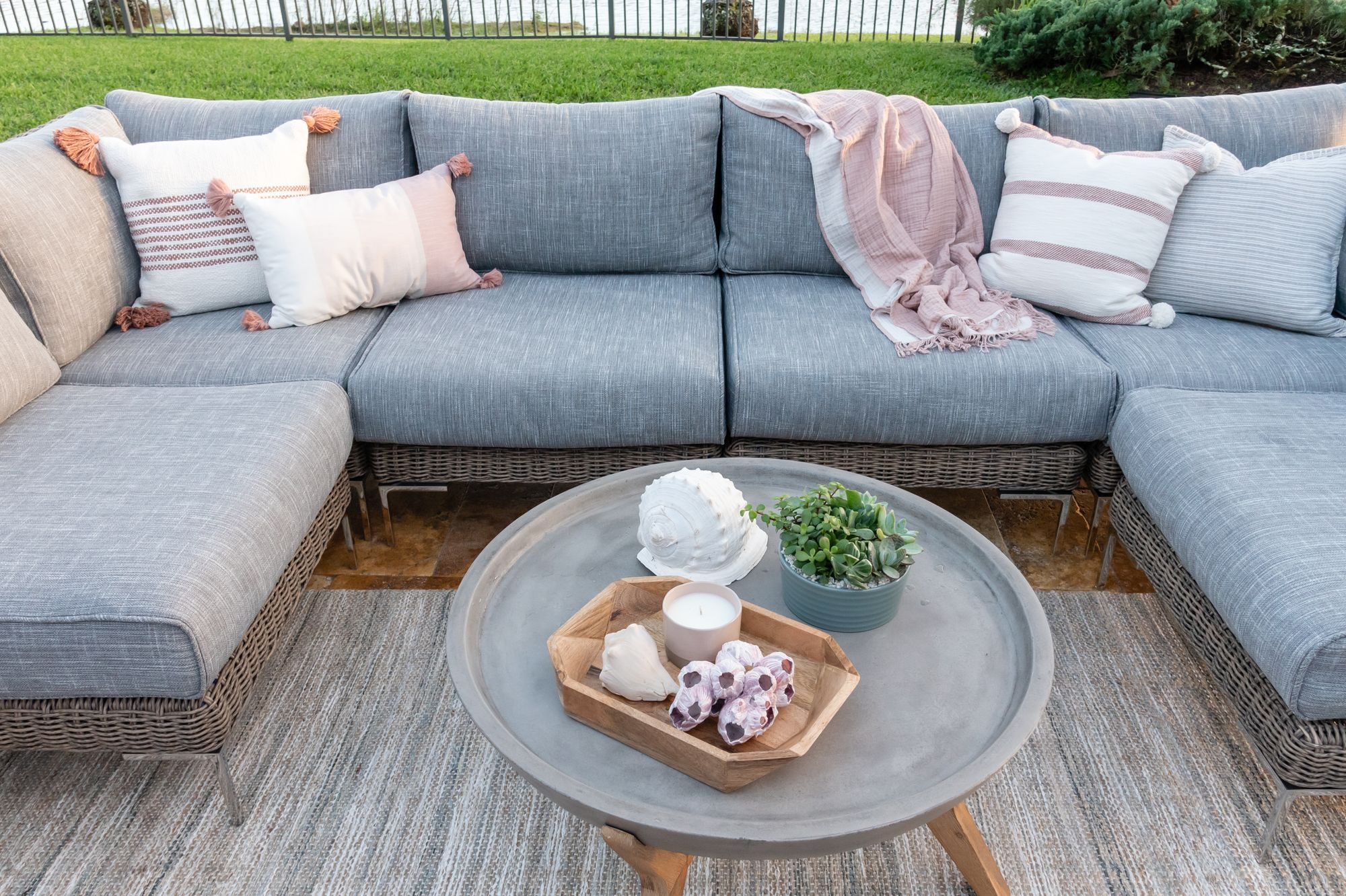 Outer outdoor sectional beautifully styled in a backyard