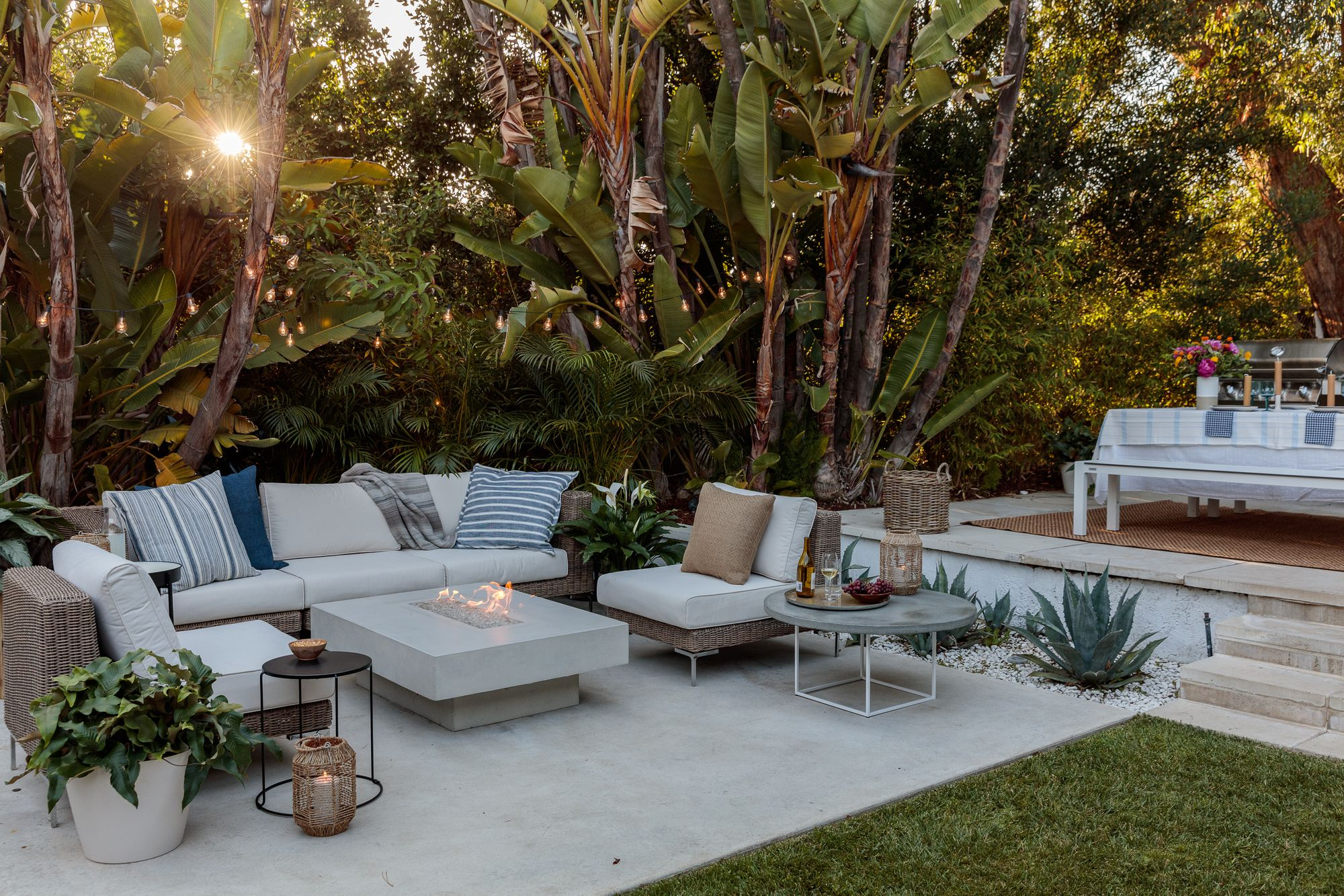 Outdoor furniture in a patio space