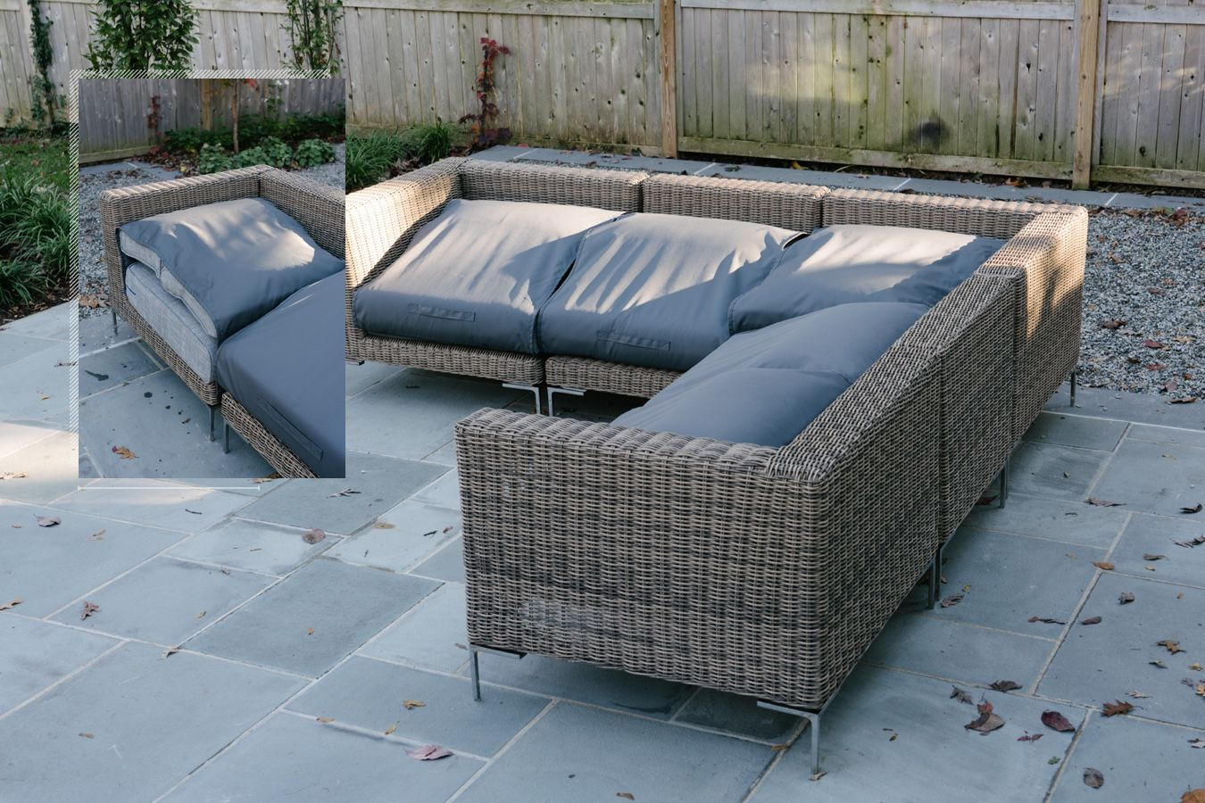 Outer patio furniture with cover to protect it.
