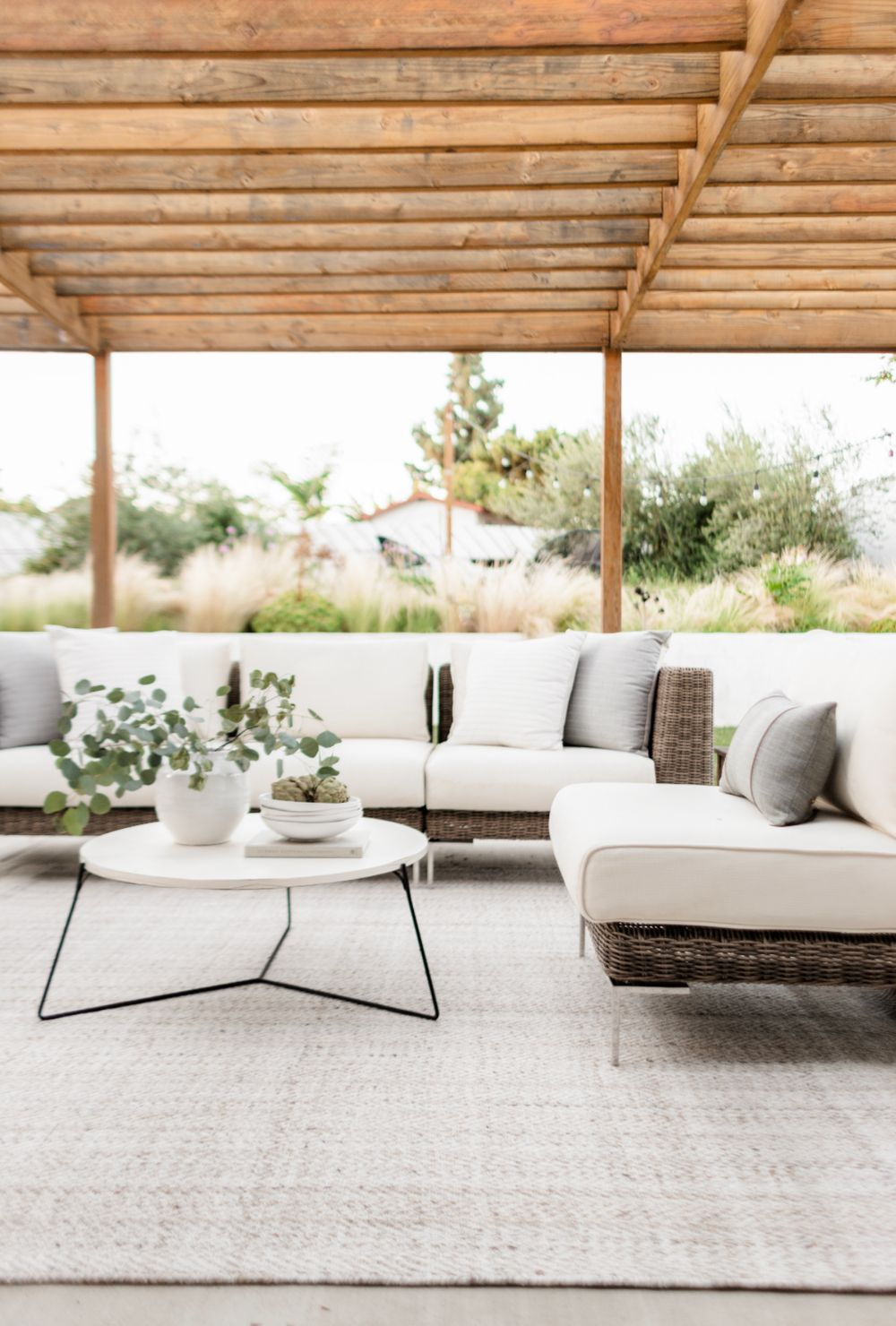 Cream color performance fabric on outdoor furniture