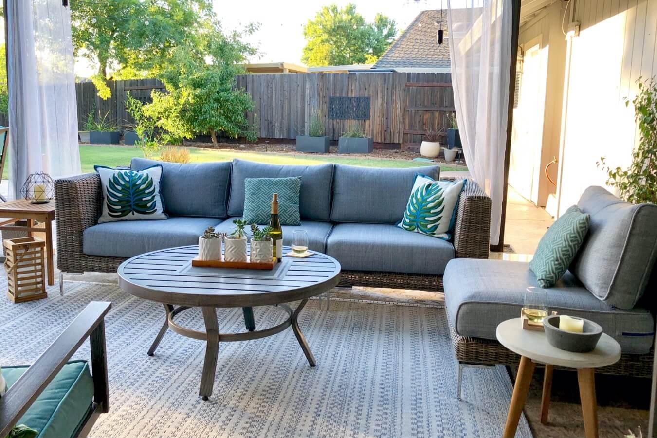 light blue patio furniture