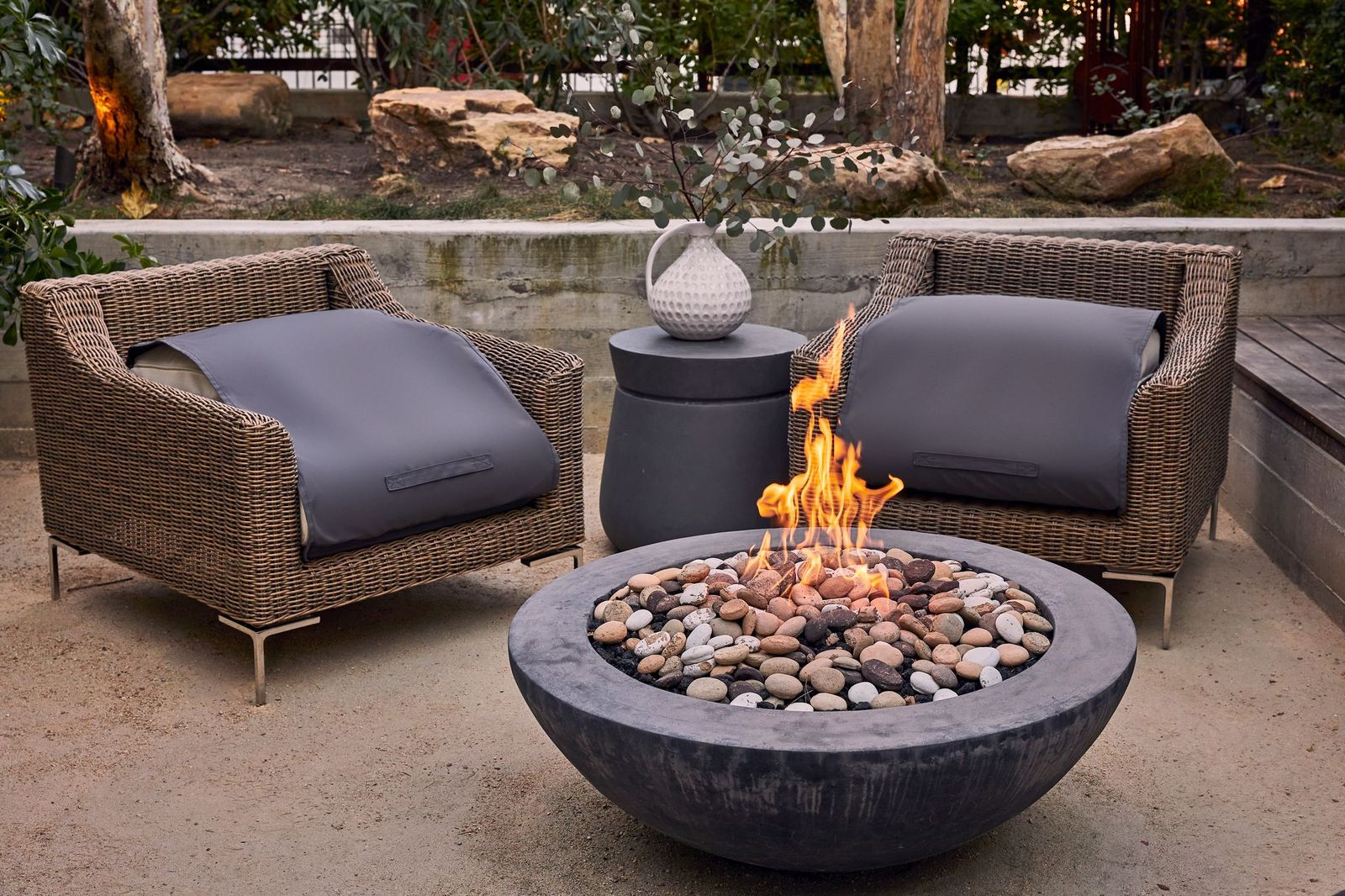 aluminum outdoor furniture with a firepit and chairs