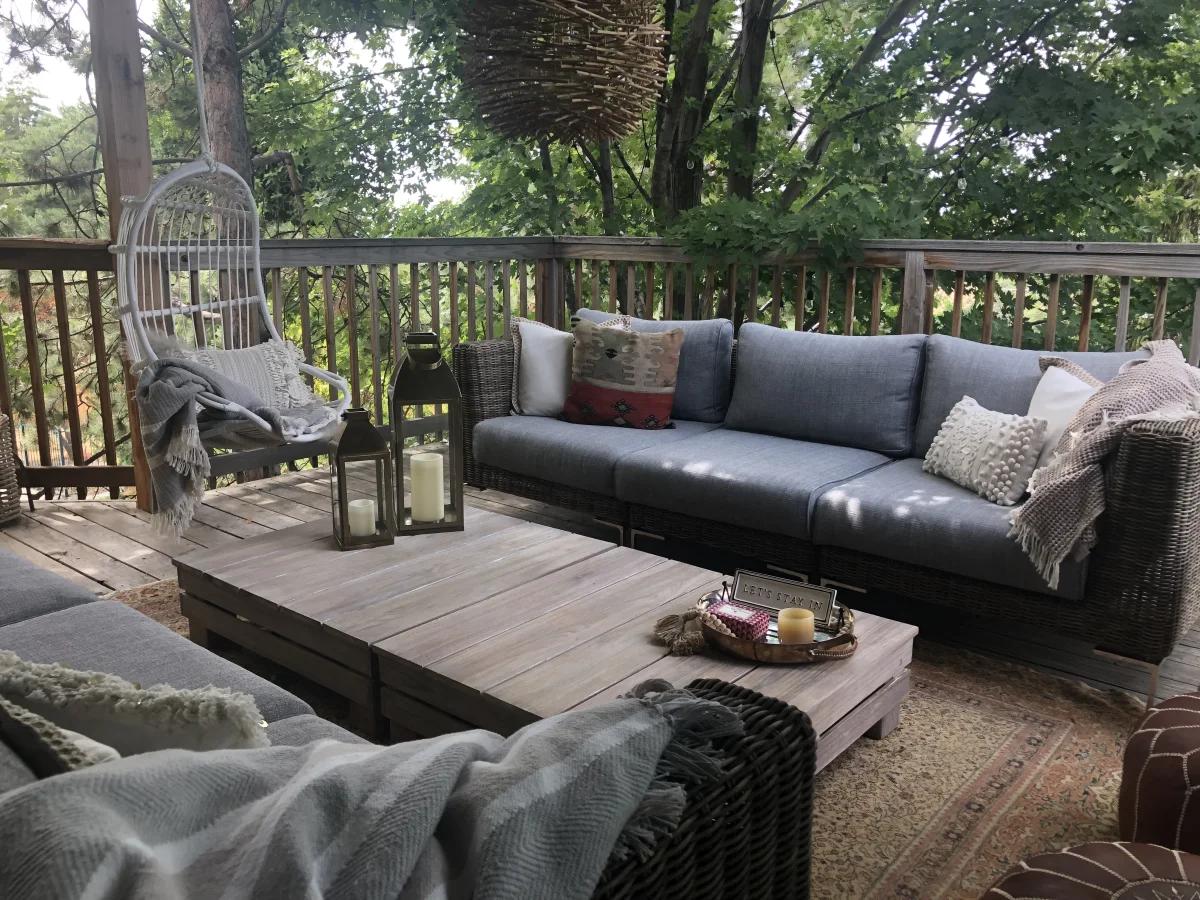 grey colored backyard decor