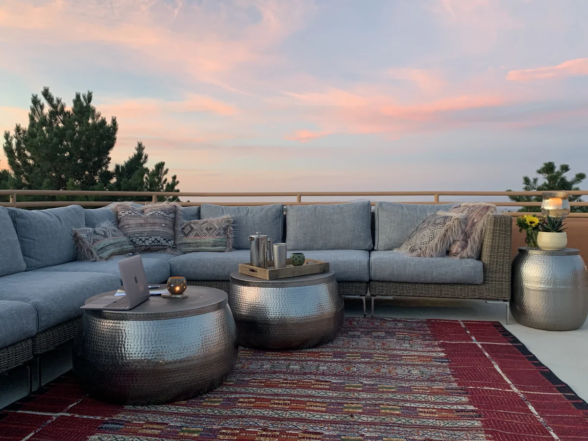 Outdoor furniture perfect for a backyard movie night