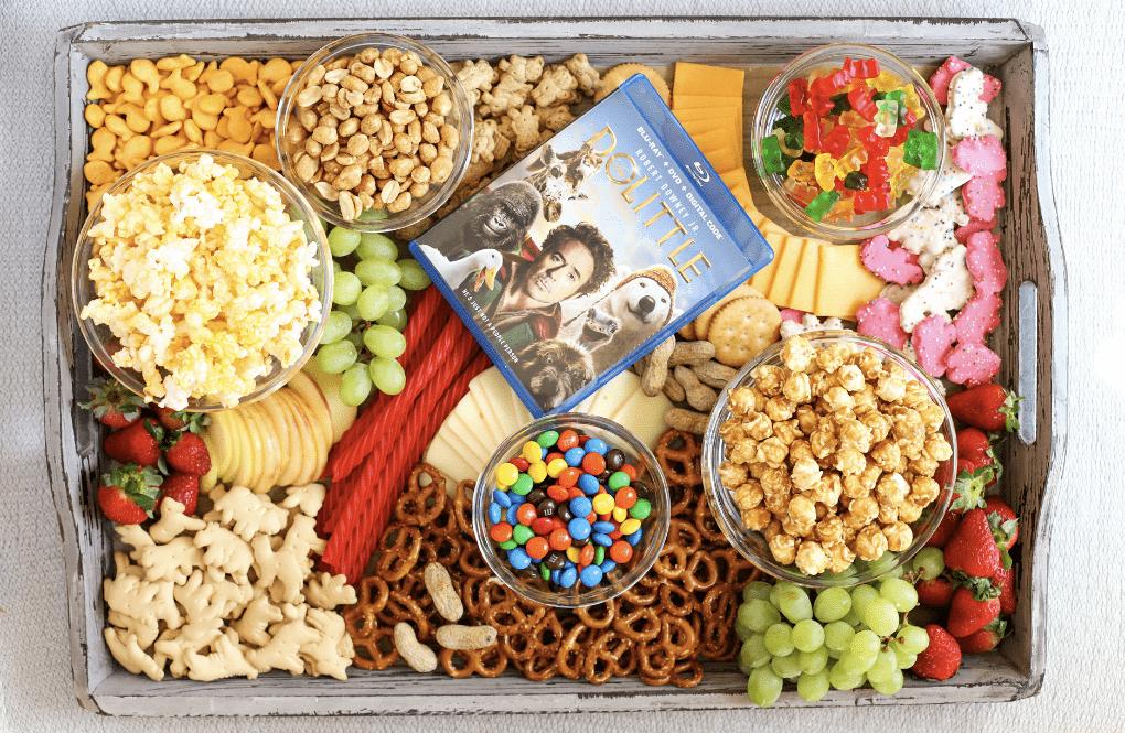 Tray of snacks for a backyard movie night