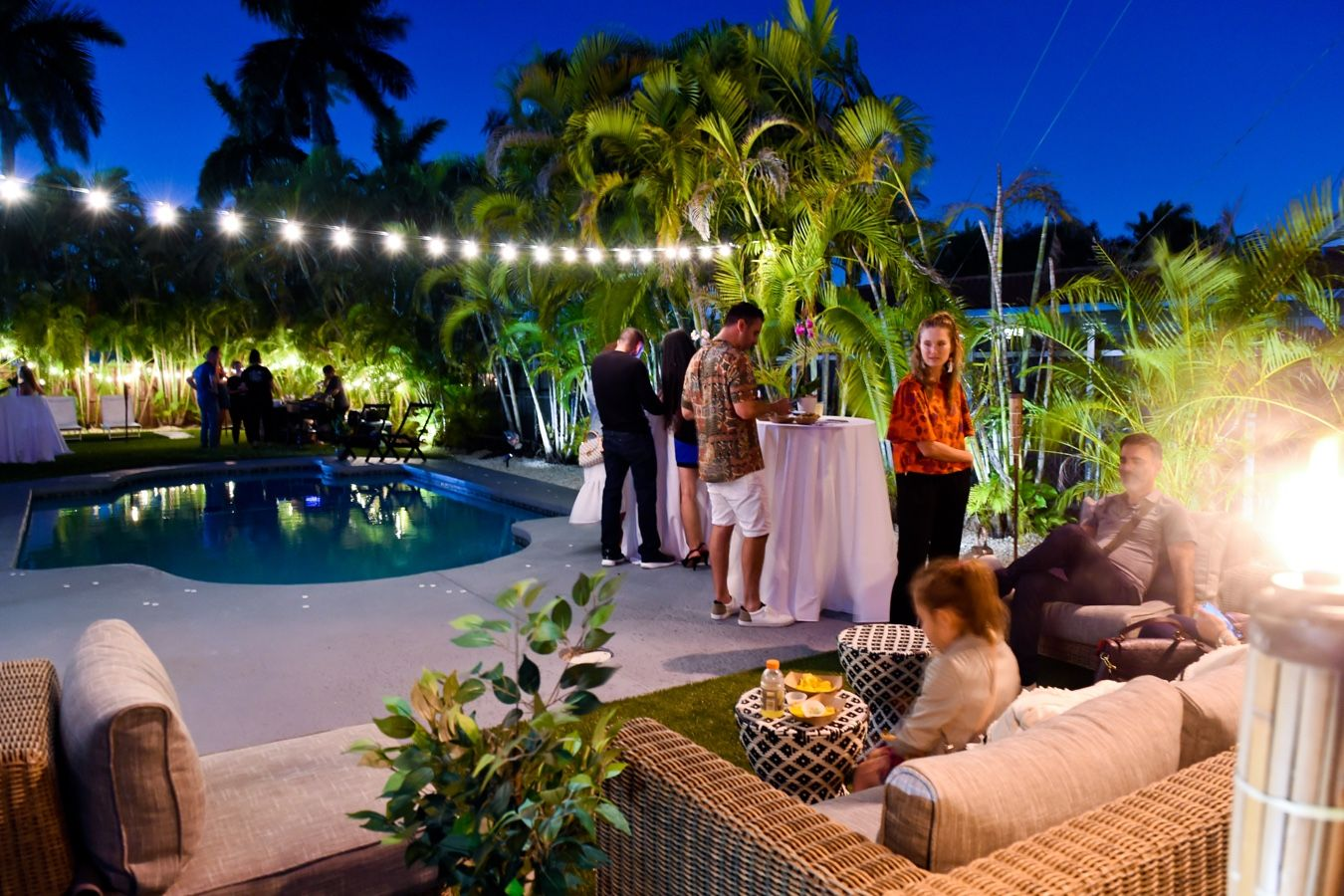 backyard party with lightening and palm trees