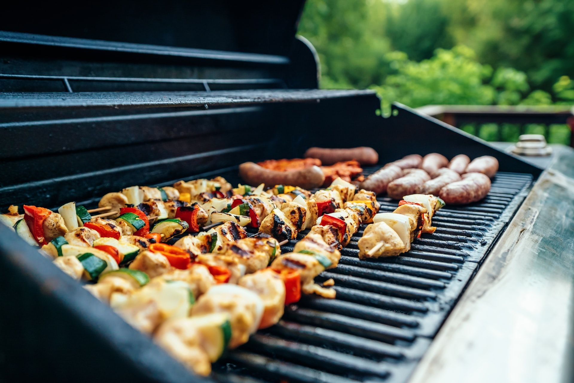Food on a BBQ for a backyard party