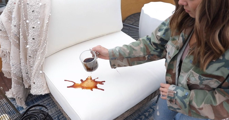 Coffee spilled on outdoor cushion