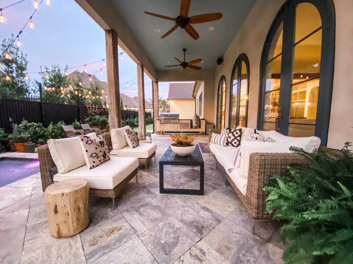 Quality modular outdoor furniture near a pool
