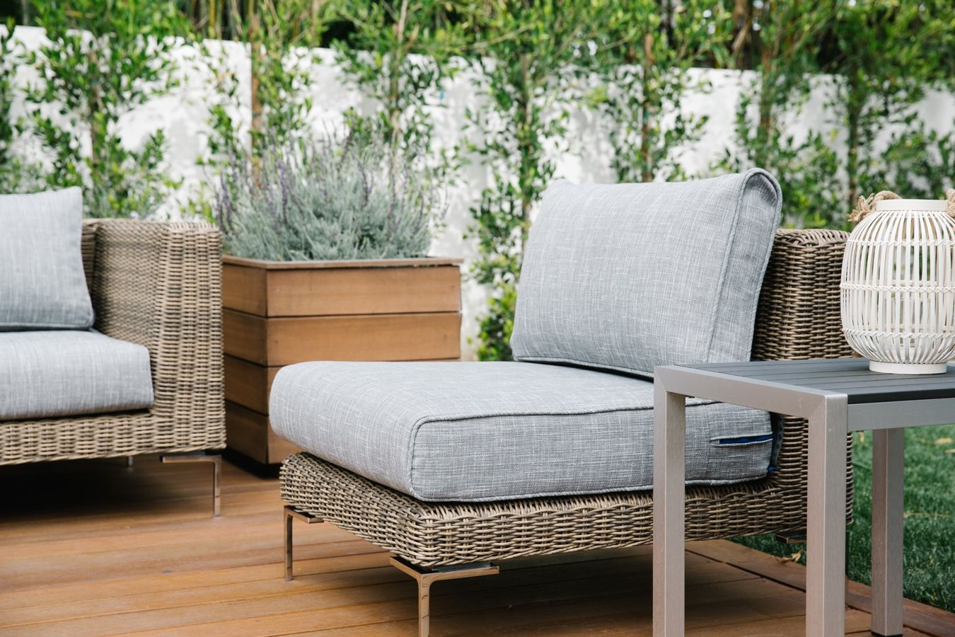 outdoor wicker furniture with grey cushions