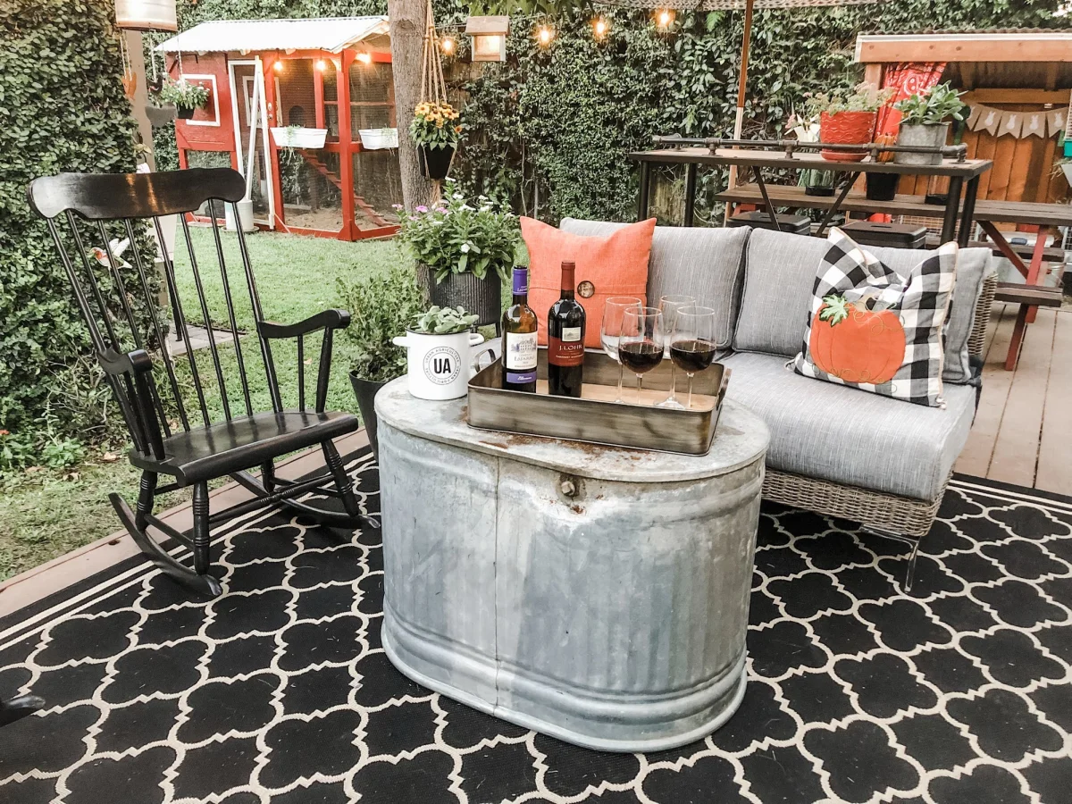 backyard oasis with wine and lots of plants