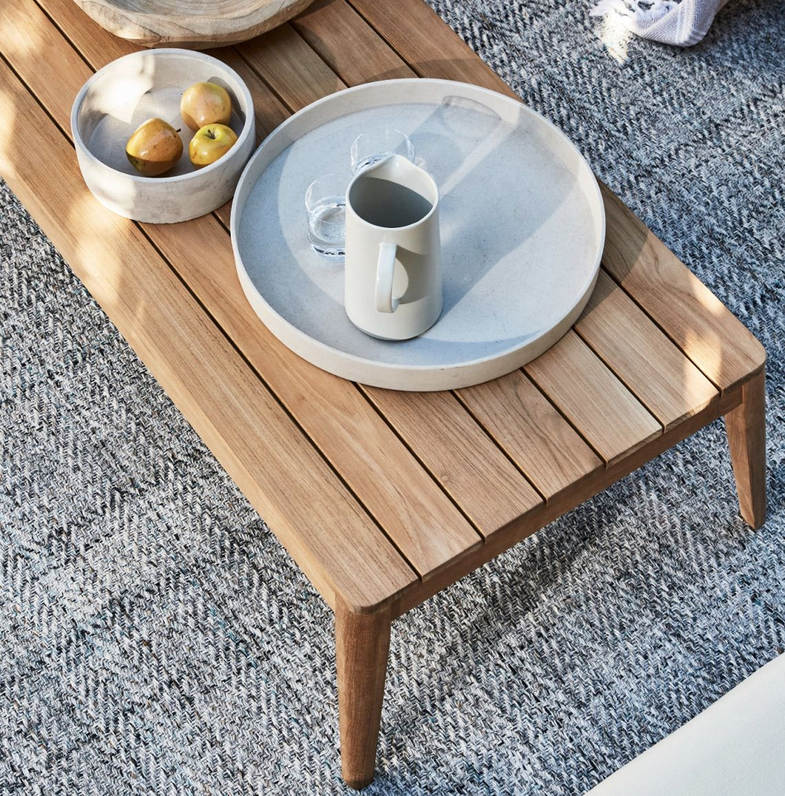 Outdoor coffee table made with the best wood for outdoor furniture