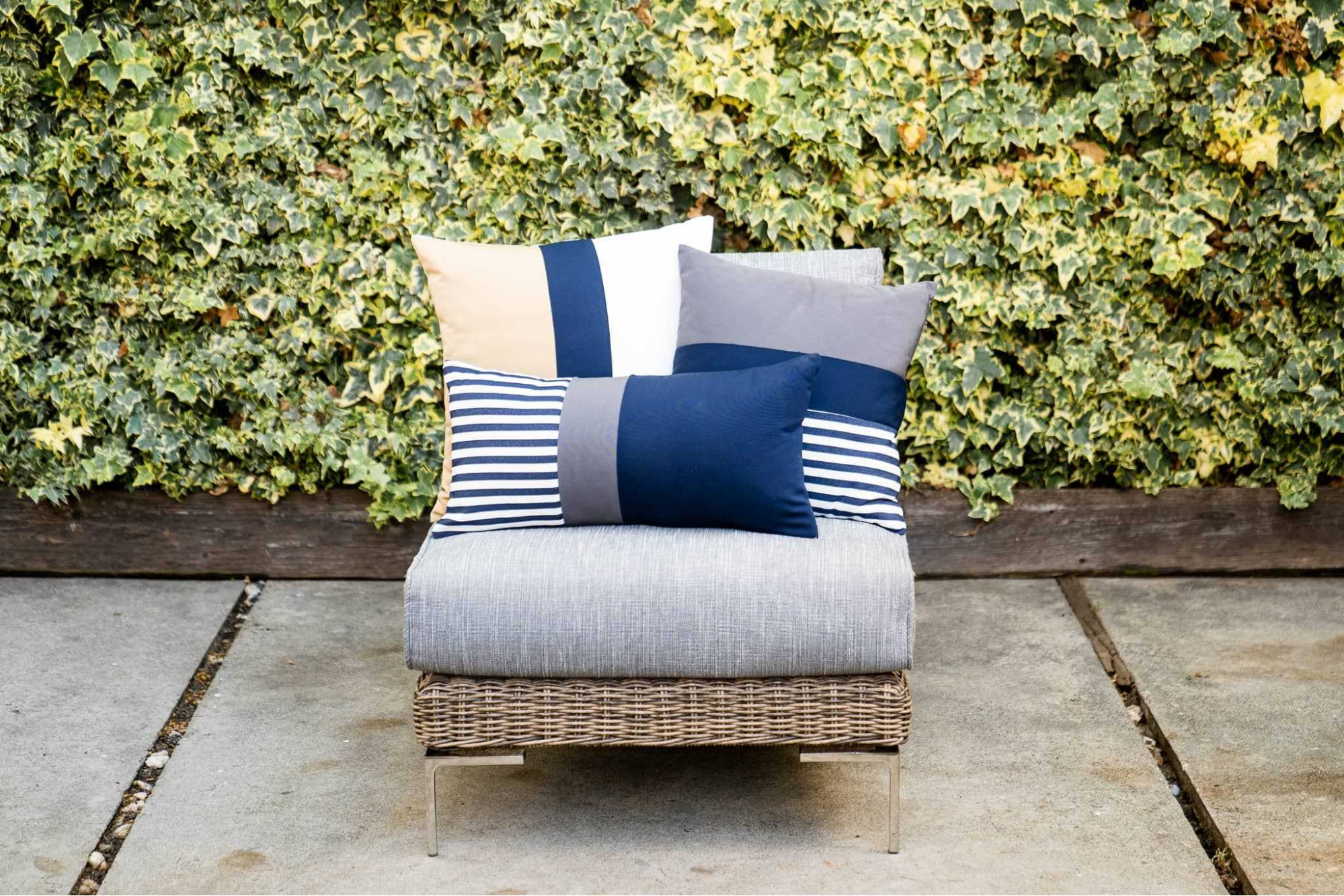 outdoor cushions on a wicker chair