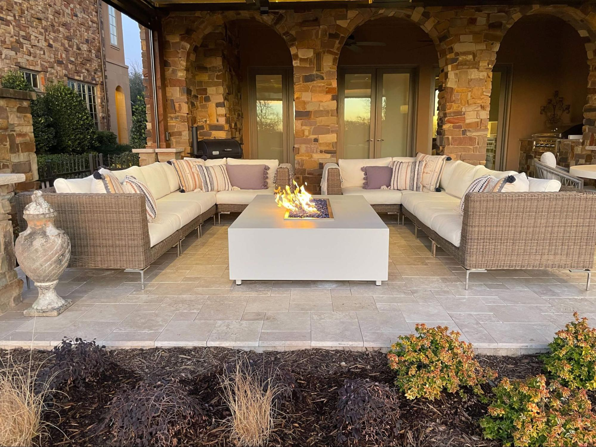 outdoor living spaces with a fire table