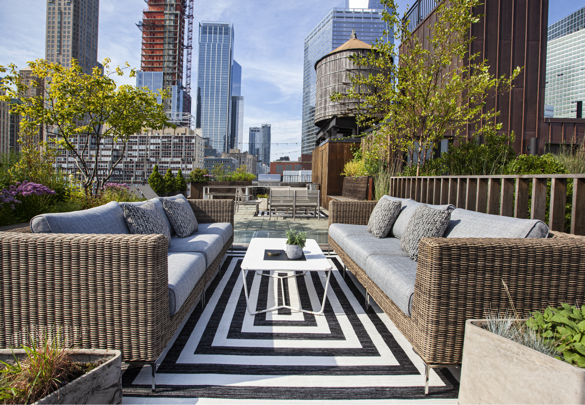 Wicker couches on rooftop patio